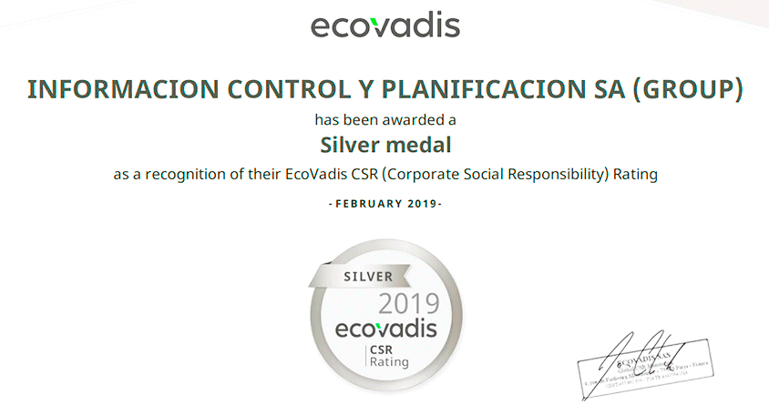 ICP obtém o reconhecimento Medalha de Prata da EcoVadis